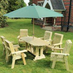 Timber Garden Furniture Timber Ergo Garden 6 Seat Table Set   6 Chairs