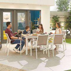 Milano Garden 6 Seat Rectangular Dining Set   White