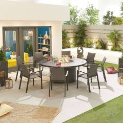 Roma Garden 8 Seat Round Dining Set with Fire Pit   Grey