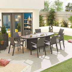Roma Garden 8 Seat Oval Dining Set with Fire Pit   Grey