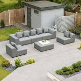 Buddha Outdoor Fabric Sofa Set   Light Grey