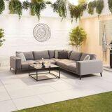 Infinity Outdoor Fabric Corner Sofa Set with Coffee Table   Light Grey