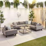 Tranquility Outdoor Fabric Corner Sofa Set with Coffee Table & Lounge Chair   Light Grey