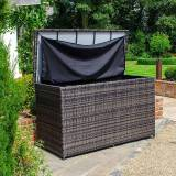 Outdoor Storage Large Rattan Storage Box with Cover   Brown