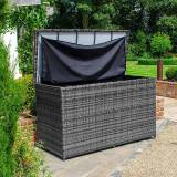 Outdoor Storage Large Rattan Storage Box with Cover   Grey