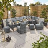 Cambridge Outdoor Dining Cambridge Deluxe Corner Dining Set with Extending Table   Right Hand   Grey Rattan