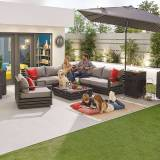 San Marino Outdoor Aluminium Corner Sofa with Coffee Table & Armchair   Grey