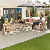 San Marino Outdoor Aluminium Corner Sofa with Coffee Table & Armchair   White