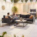 Bliss Outdoor Fabric Corner Sofa Set   Dark Grey
