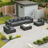 Buddha Outdoor Fabric Sofa Set   Dark Grey
