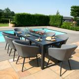 Maze Ambition Outdoor Fabric 8 Seat Rectangular Fire Pit Dining Set   Flanelle