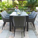 Maze Zest 8 Seat Rectangular Dining Set   Fire Pit Table   Flanelle