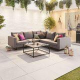 Eden Outdoor Fabric Corner Sofa Set with Coffee Table   Light Grey