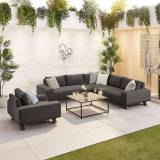 Tranquility Outdoor Fabric Corner Sofa Set with Coffee Table & Lounge Chair   Dark Grey