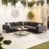 Infinity Outdoor Fabric Corner Sofa Set with Coffee Table   Dark Grey