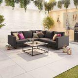 Eden Outdoor Fabric Corner Sofa Set with Coffee Table   Dark Grey