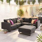 Eden Outdoor Fabric Corner Sofa Set with Footstool   Dark Grey
