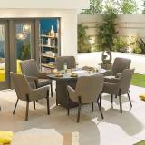 Genoa Outdoor Fabric 6 Seat Oval Dining Set with Fire Pit   Light Grey