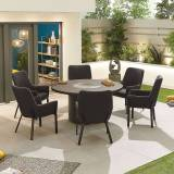 Genoa Outdoor Fabric 6 Seat Round Dining Set with Fire Pit   Dark Grey