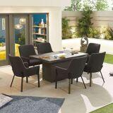 Genoa Ourdoor Fabric 6 Seat Rectangular Dining Set with Fire Pit   Dark Grey