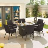 Genoa Outdoor Fabric 6 Seat Oval Dining Set with Fire Pit   Dark Grey