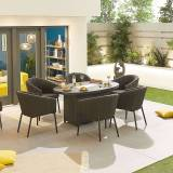 Edge Fabric Garden 6 Seat Oval Dining Set with Fire Pit   Dark Grey