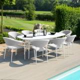 Maze Pebble 8 Seat Oval Dining Set   Lead Chine Outdoor Fabric
