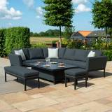Maze Pulse Outdoor Fabric Rectangular Corner Dining Set with Rising Table   Charcoal