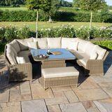 Maze Winchester Royal U-Shaped Sofa Set with Rising Table   Natural Rattan