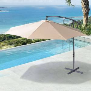 Fire Pits, Parasols & Accessories Barbados Cantilever Parasol   3m Round   Beige