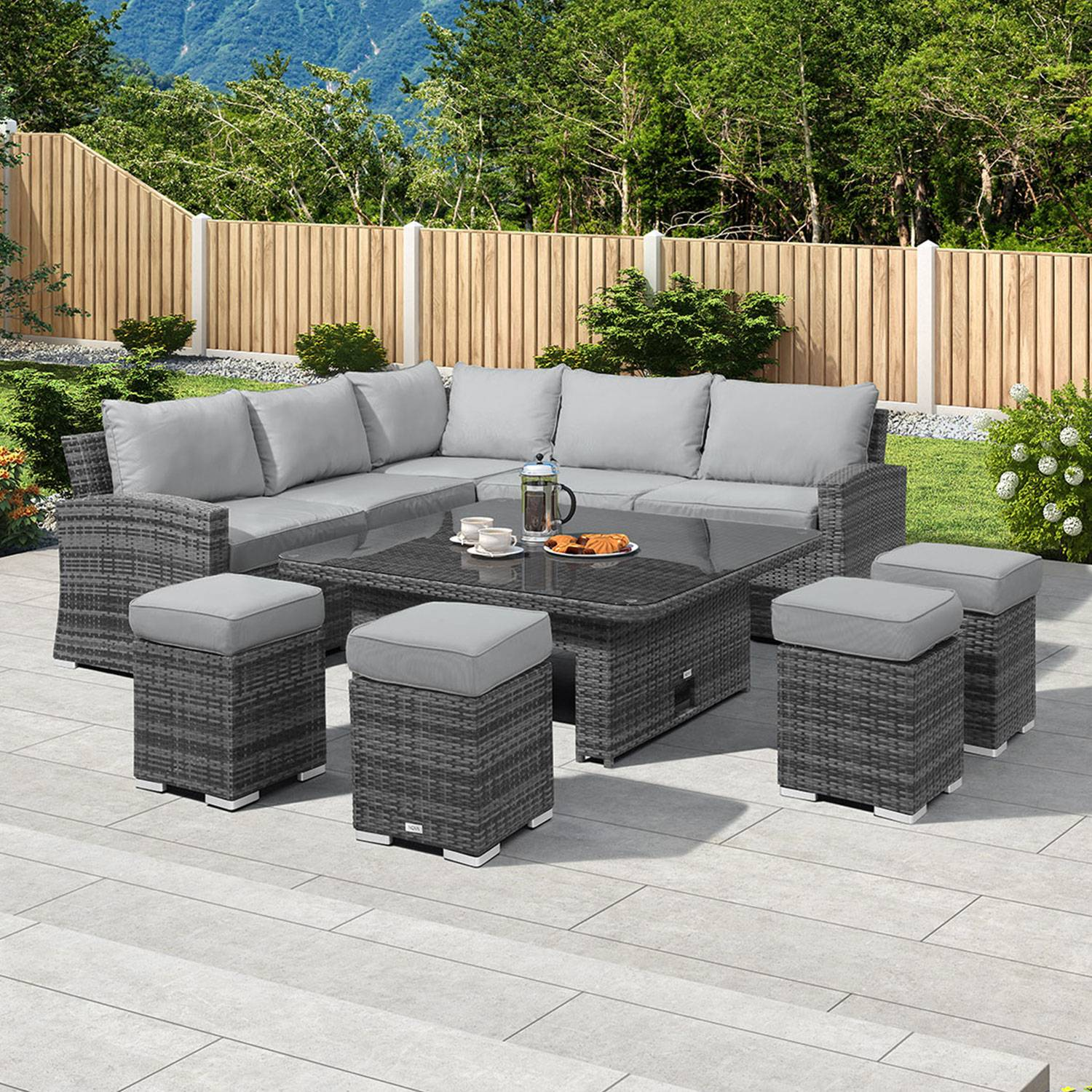Oakworld Alfresco Cambridge Deluxe Corner Dining Set with Rising Table - Grey