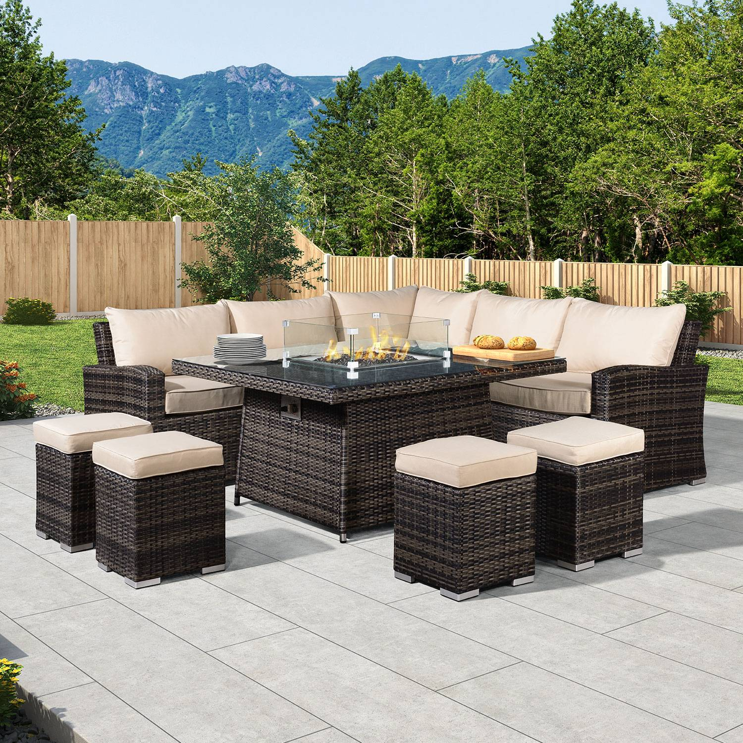 Oakworld Alfresco Cambridge Deluxe Corner Dining Set with Fire Pit Table - Brown