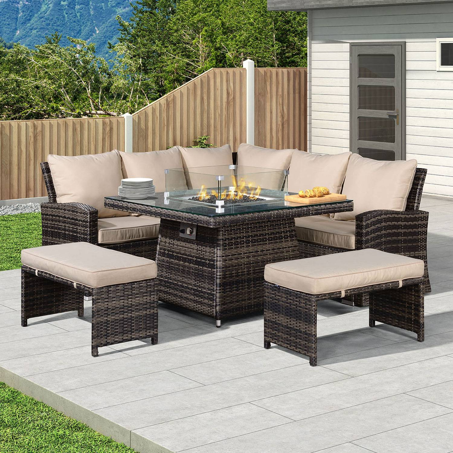 Oakworld Alfresco Cambridge Compact Corner Dining Set with Fire Pit Table - Brown