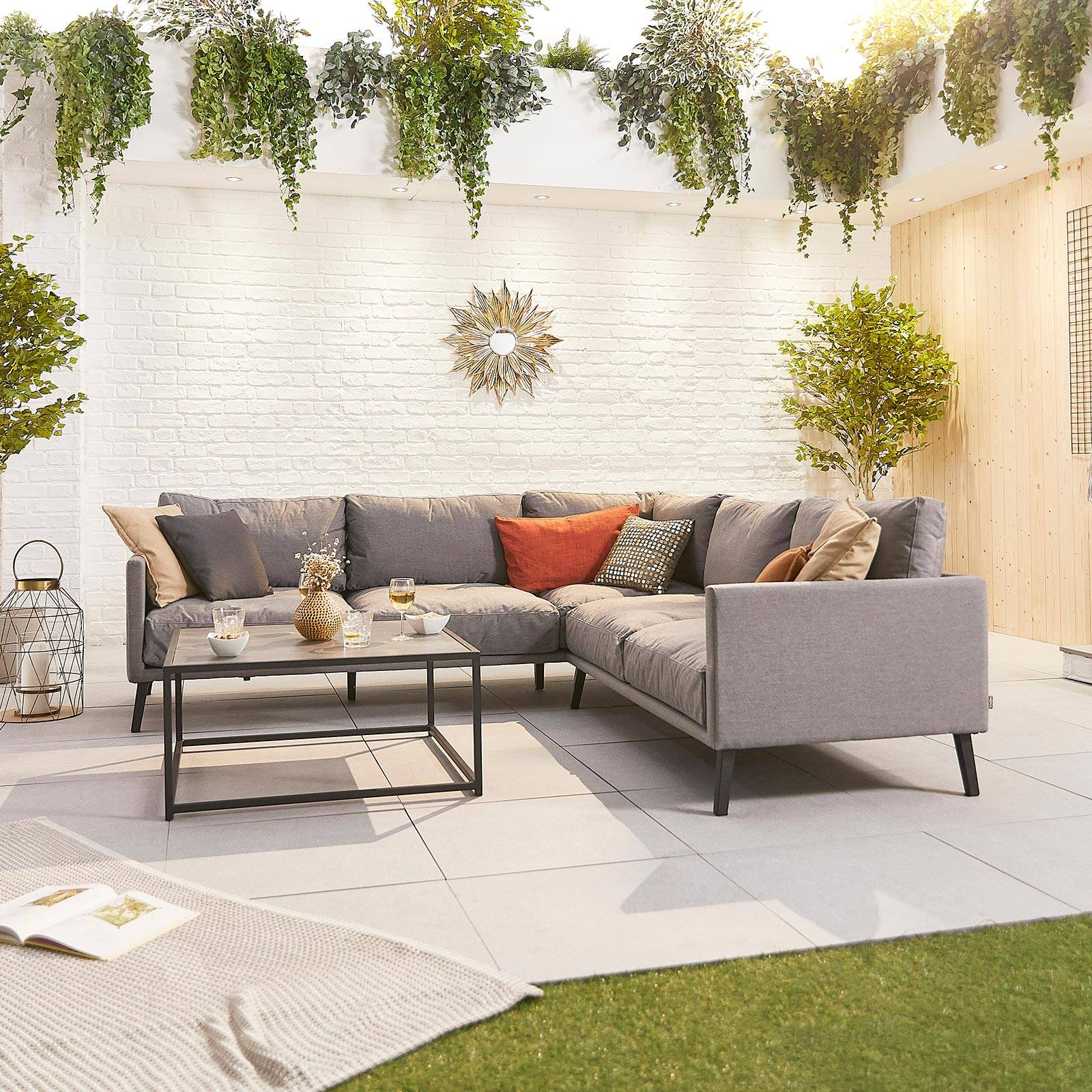 Oakworld Alfresco Bliss Outdoor Fabric Corner Sofa Set With Coffee Table