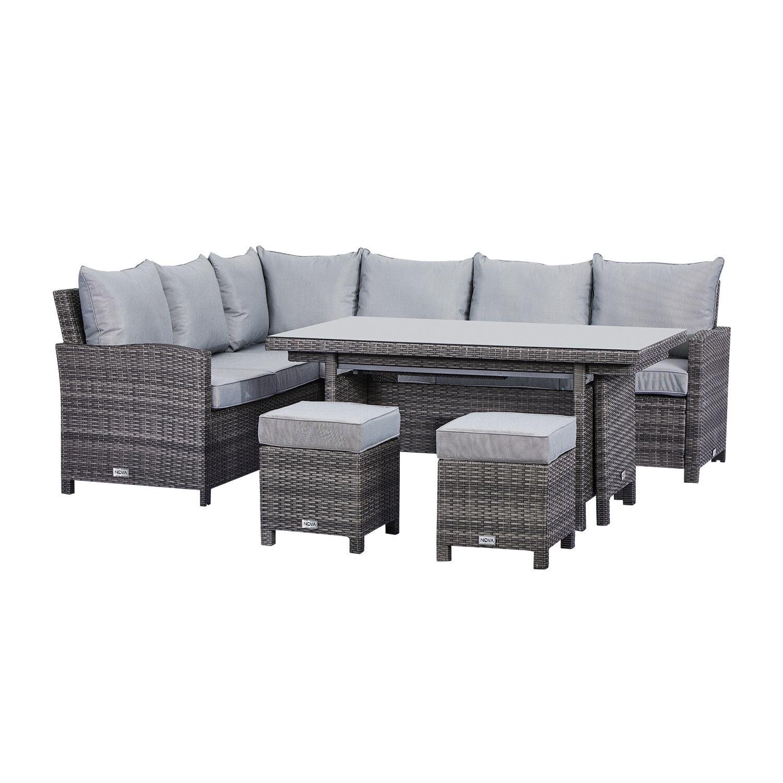 Oakworld Alfresco Cambridge Corner Dining Set with Extending Table - Left Hand - Grey