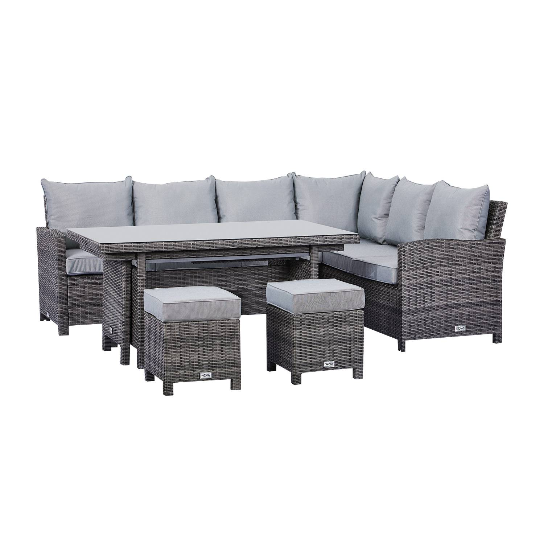 Oakworld Alfresco Cambridge Corner Dining Set with Extending Table - Right Hand - Grey