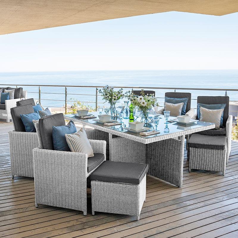 Oakworld Alfresco Heritage Catherine 6 Seat Cube Set   1.9m x 1.25m Rectangular Table   White Wash