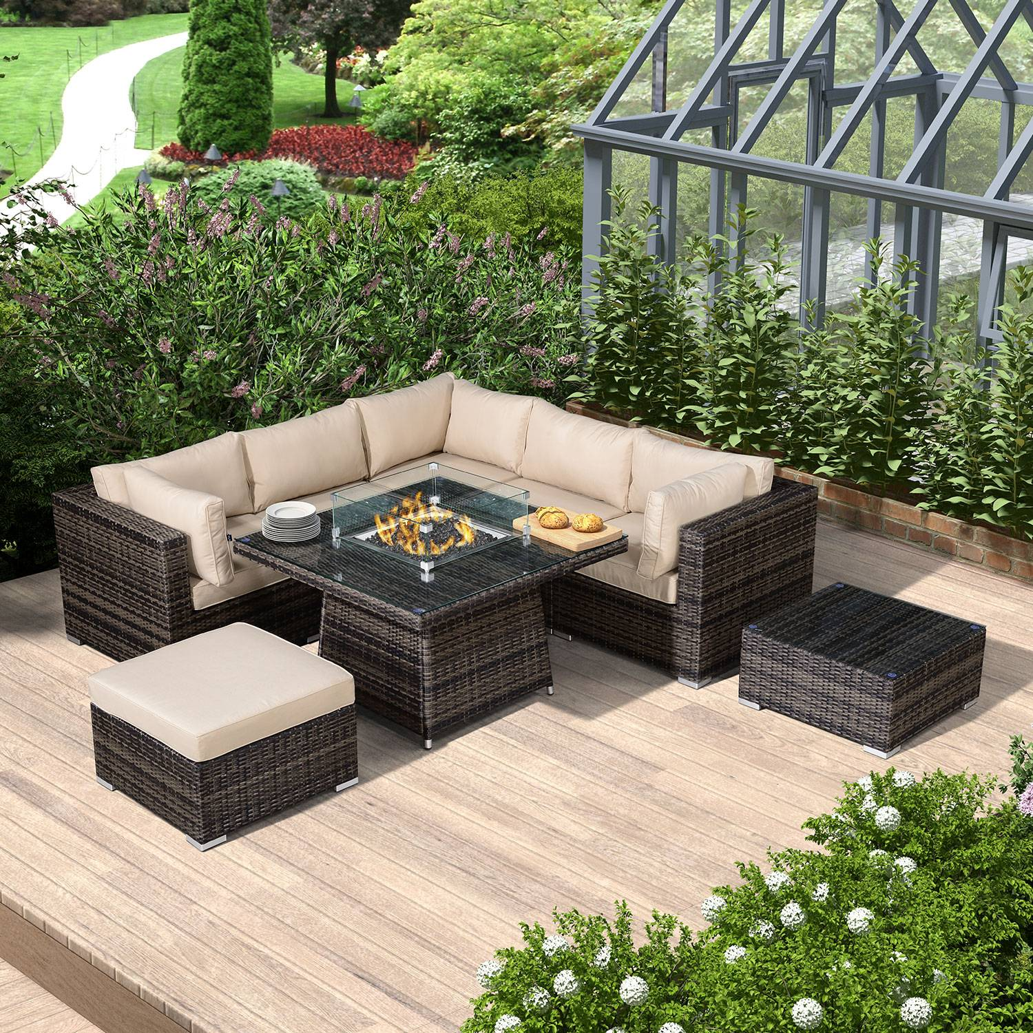 Oakworld Alfresco Chelsea Corner Sofa Set with Fire Pit Table   With Wind Guard   Brown