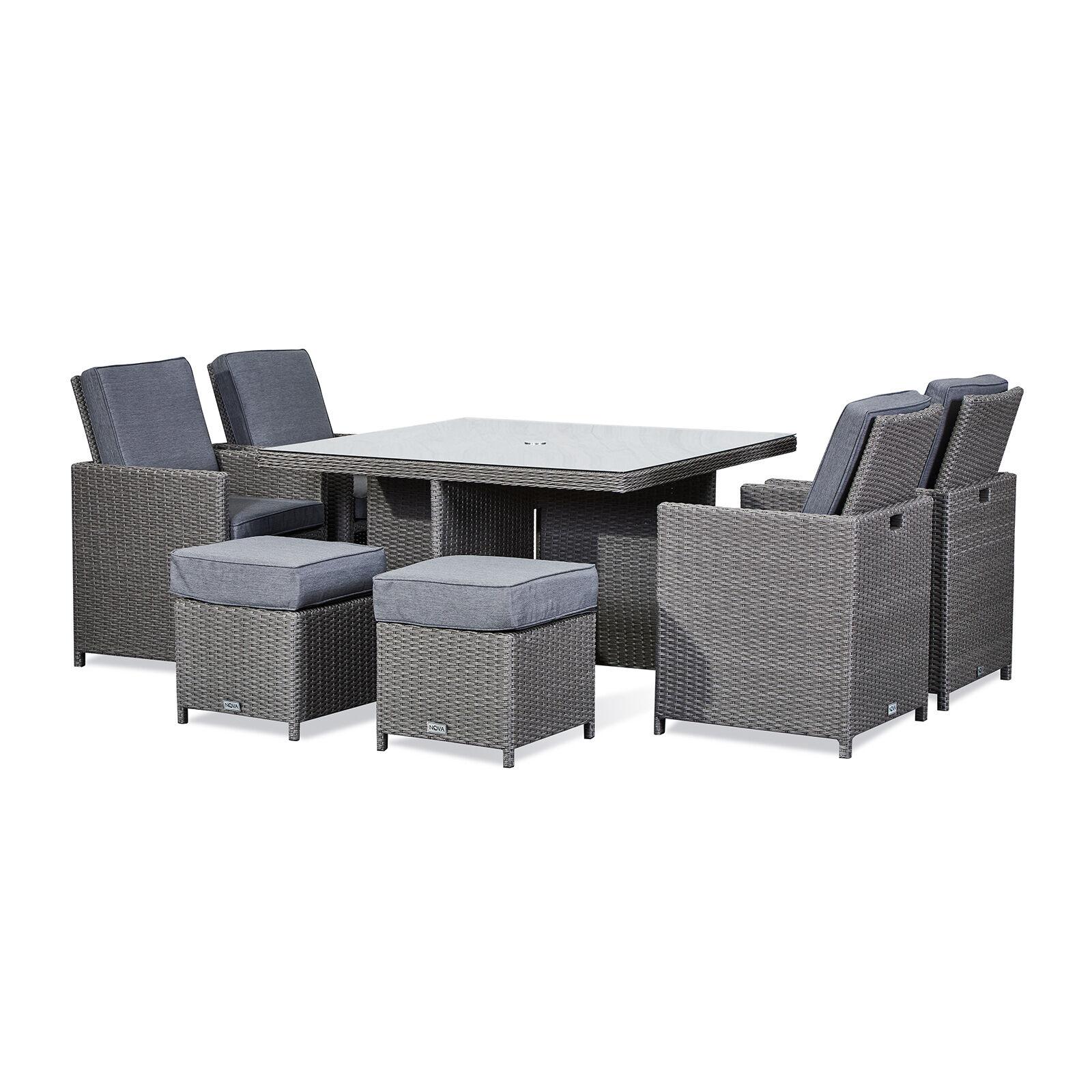 Oakworld Alfresco Heritage Catherine 4 Seat Cube Set   1.25m Square Table   Slate Grey