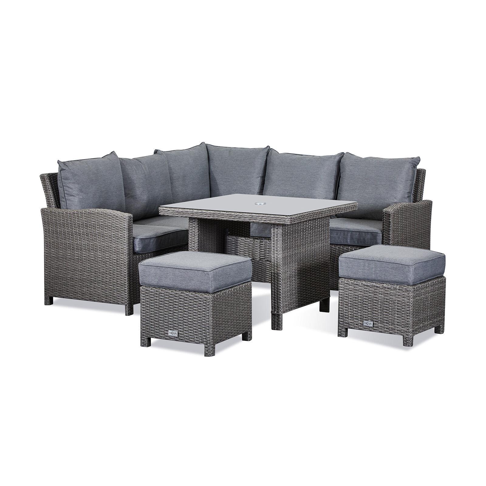 Oakworld Alfresco Heritage Ciara Compact Corner Dining Set with Casual Parasol Hole Table   Slate Grey