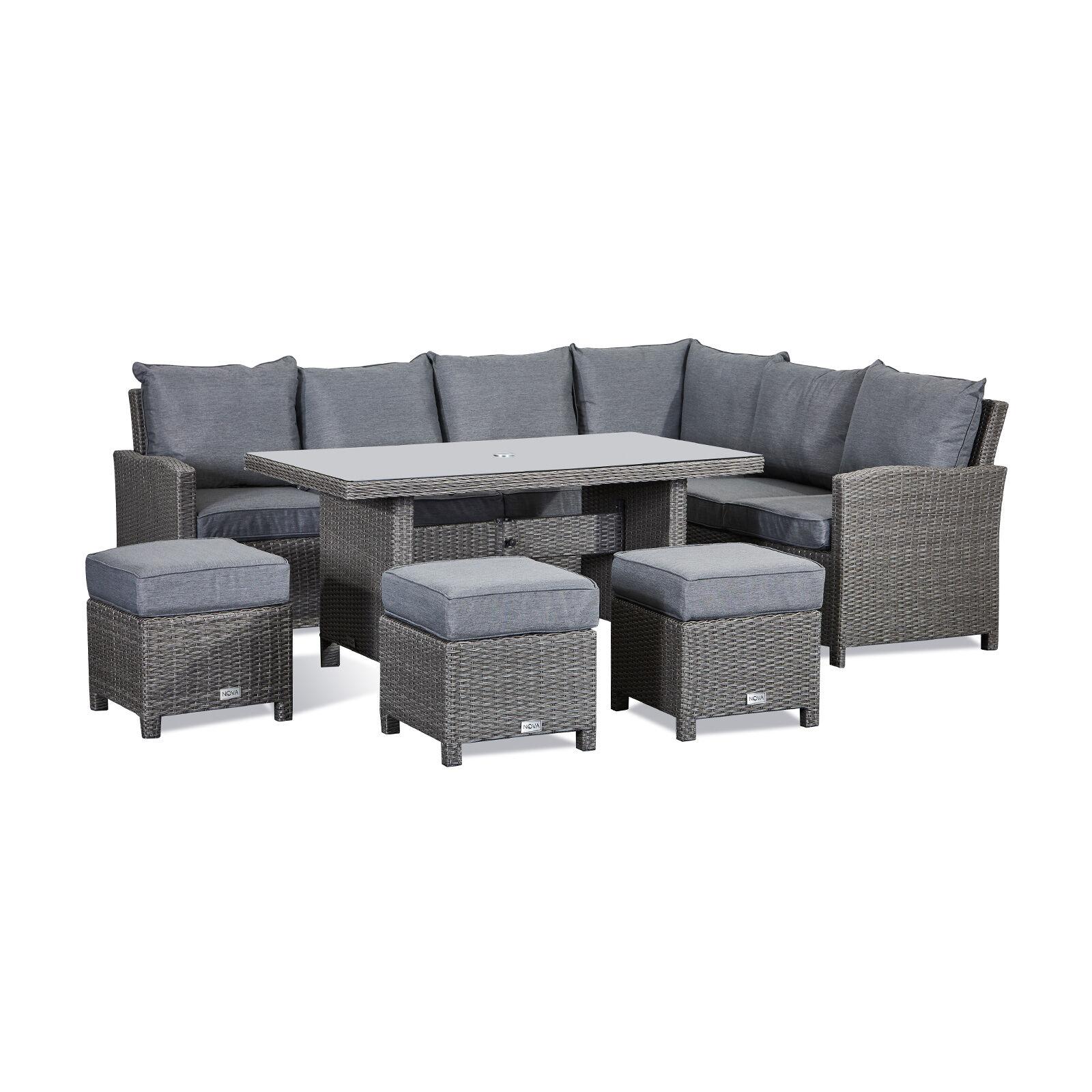 Oakworld Alfresco Heritage Ciara Corner Dining Set with Parasol Hole Table   Right Hand   Slate Grey