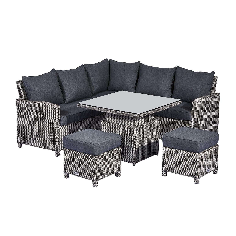 Oakworld Alfresco Heritage Ciara Compact Corner Dining Set with Rising Table   White Wash