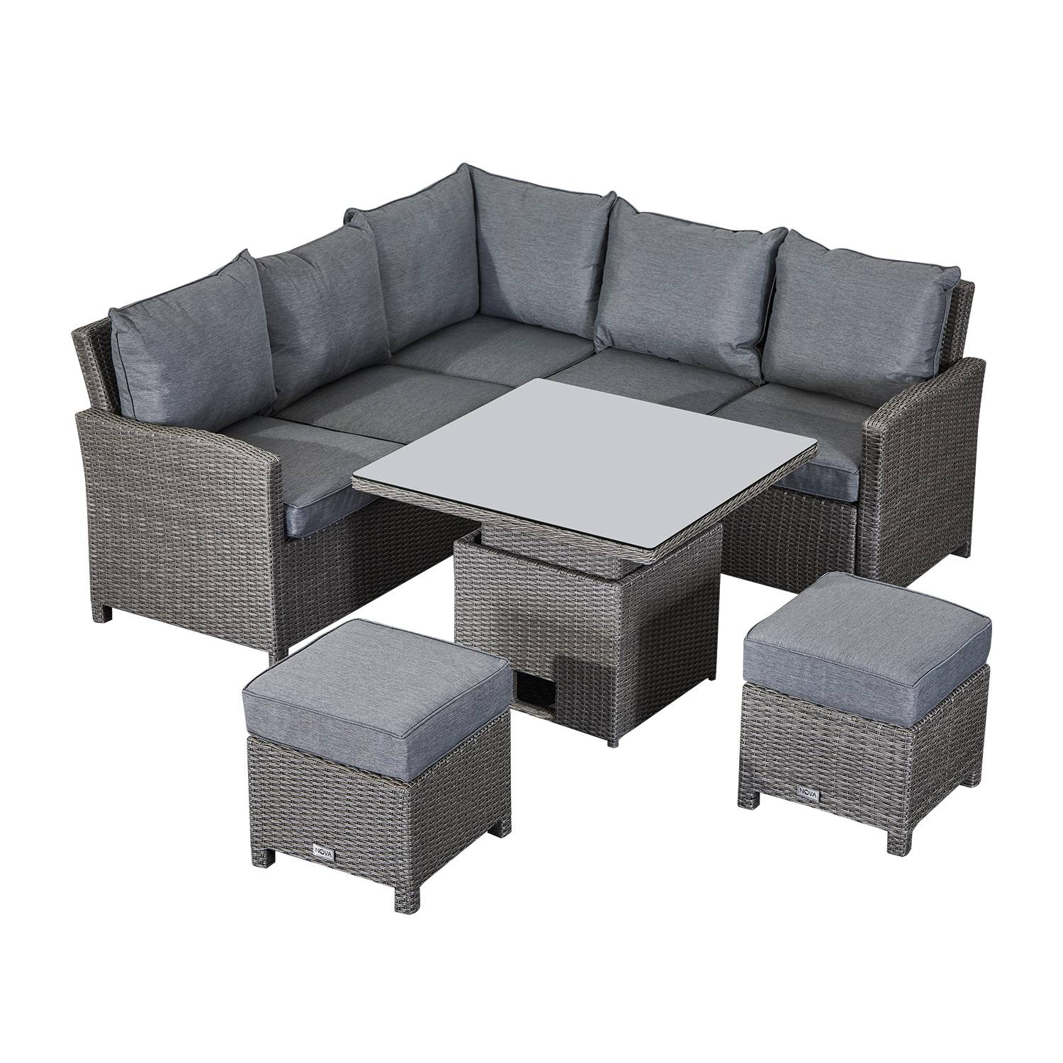 Oakworld Alfresco Heritage Ciara Compact Corner Dining Set with Rising Table   Slate Grey