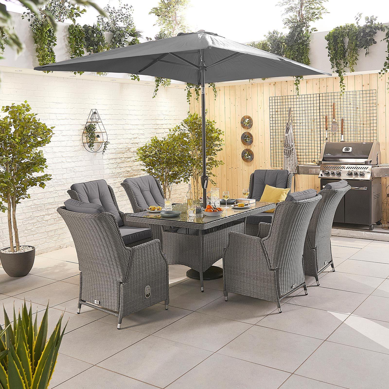 Oakworld Alfresco Heritage Carolina 6 Seat Dining Set   1.5m x 1m Rectangular Table   Slate Grey