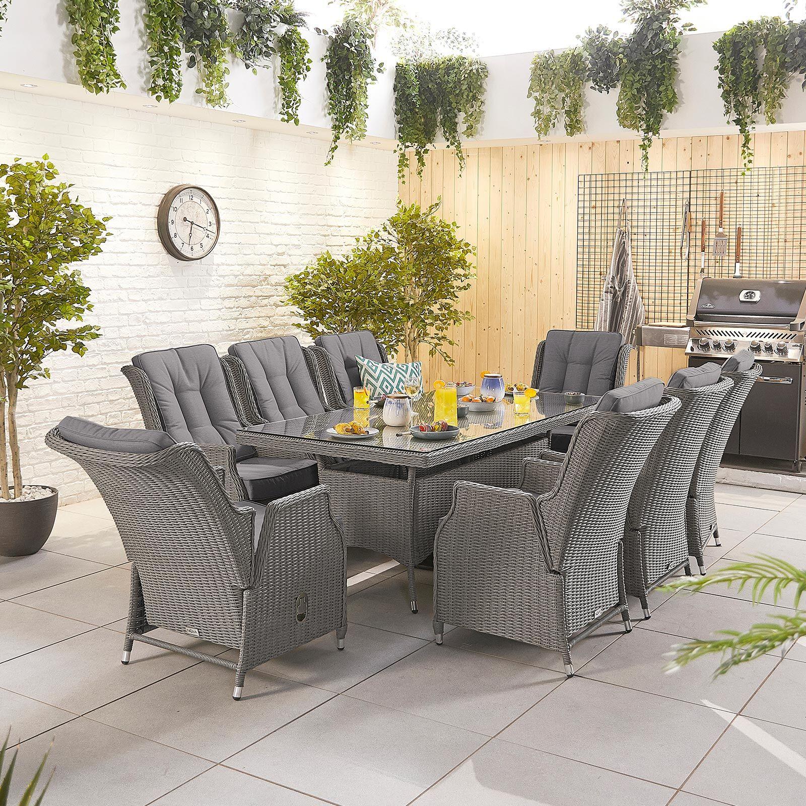 Oakworld Alfresco Heritage Carolina 8 Seat Dining Set   2m x 1m Rectangular Table   Slate Grey
