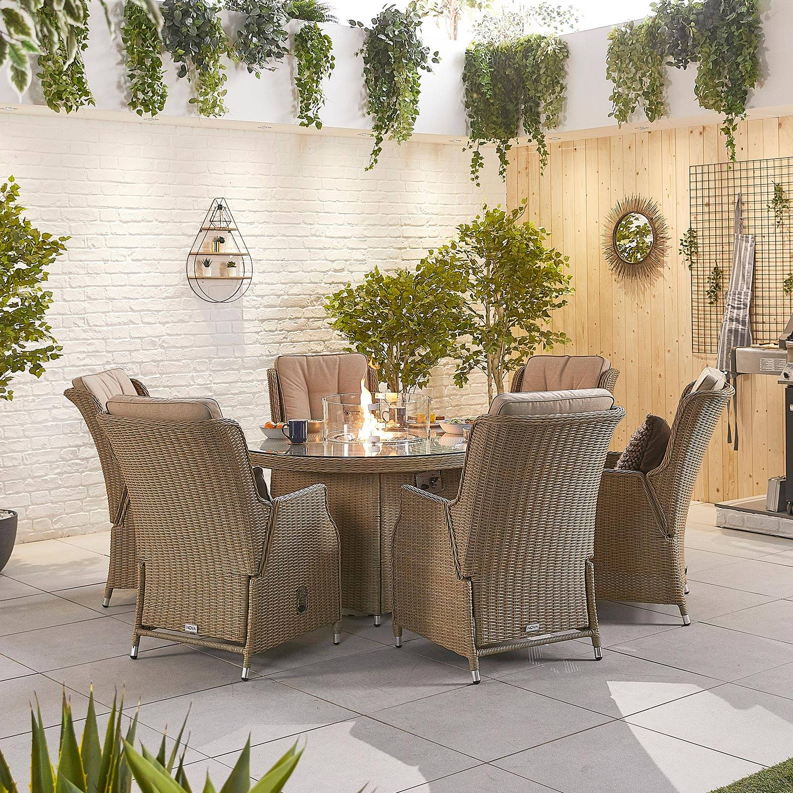 Oakworld Alfresco Heritage Carolina 6 Seat Dining Set with Fire Pit   1.5m Round Table   Willow