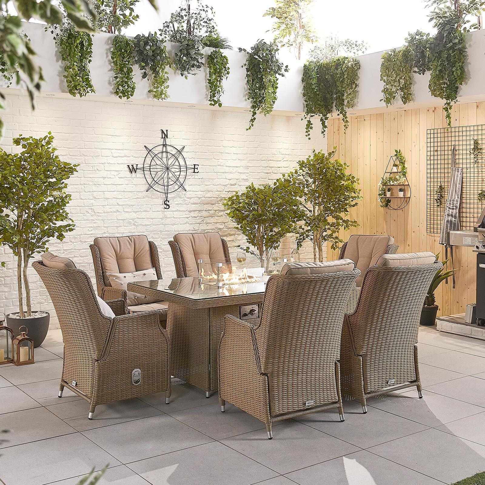 Oakworld Alfresco Heritage Carolina 6 Seat Dining Set with Fire Pit   1.5m x 1m Rectangular Table   Willow