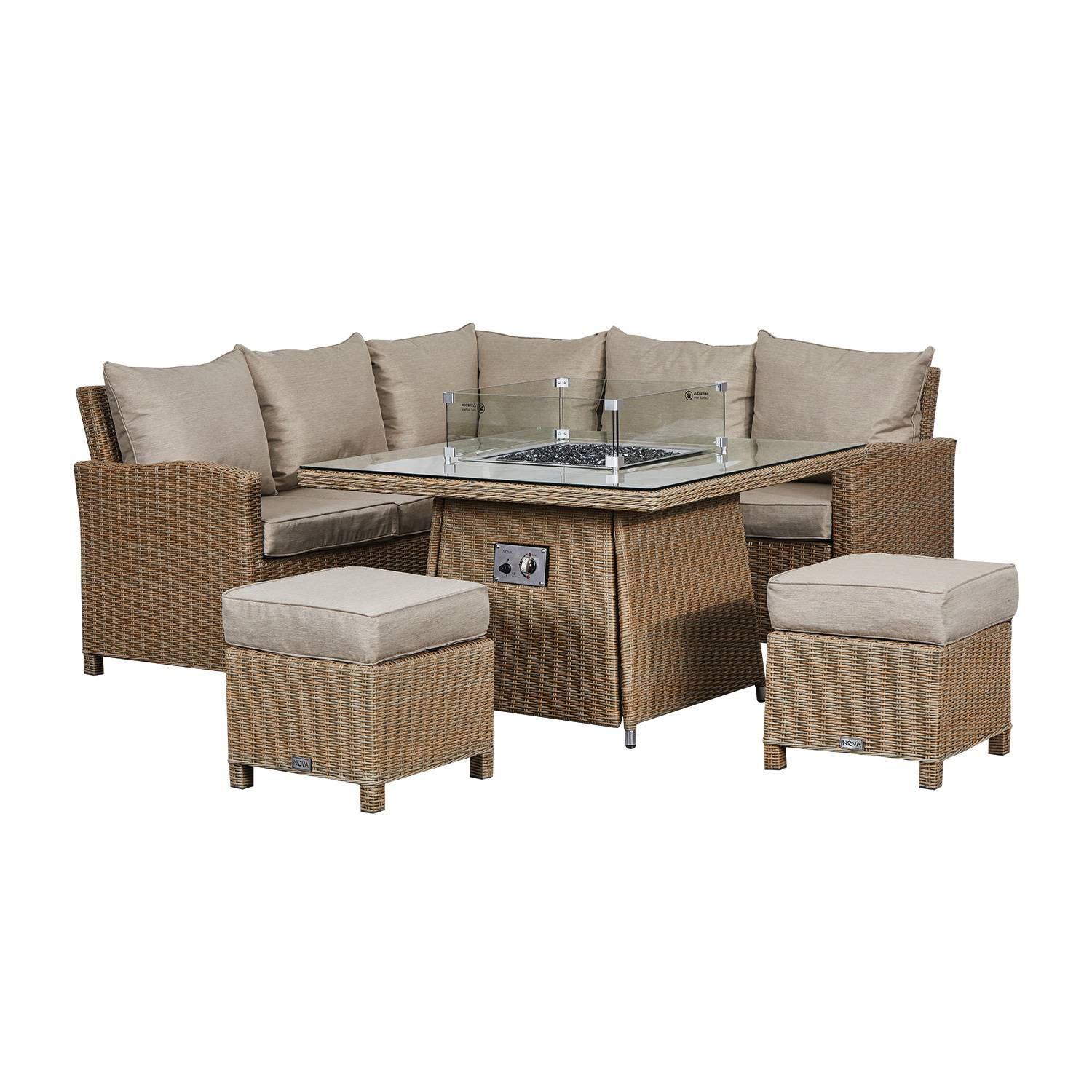 Oakworld Alfresco Heritage Ciara Compact Corner Dining Set with Fire Pit Table   Willow