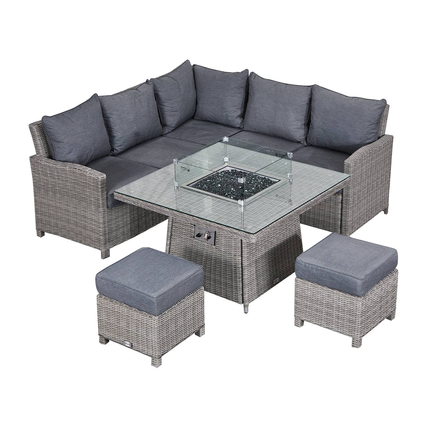 Oakworld Alfresco Heritage Ciara Compact Corner Dining Set with Fire Pit Table   White Wash