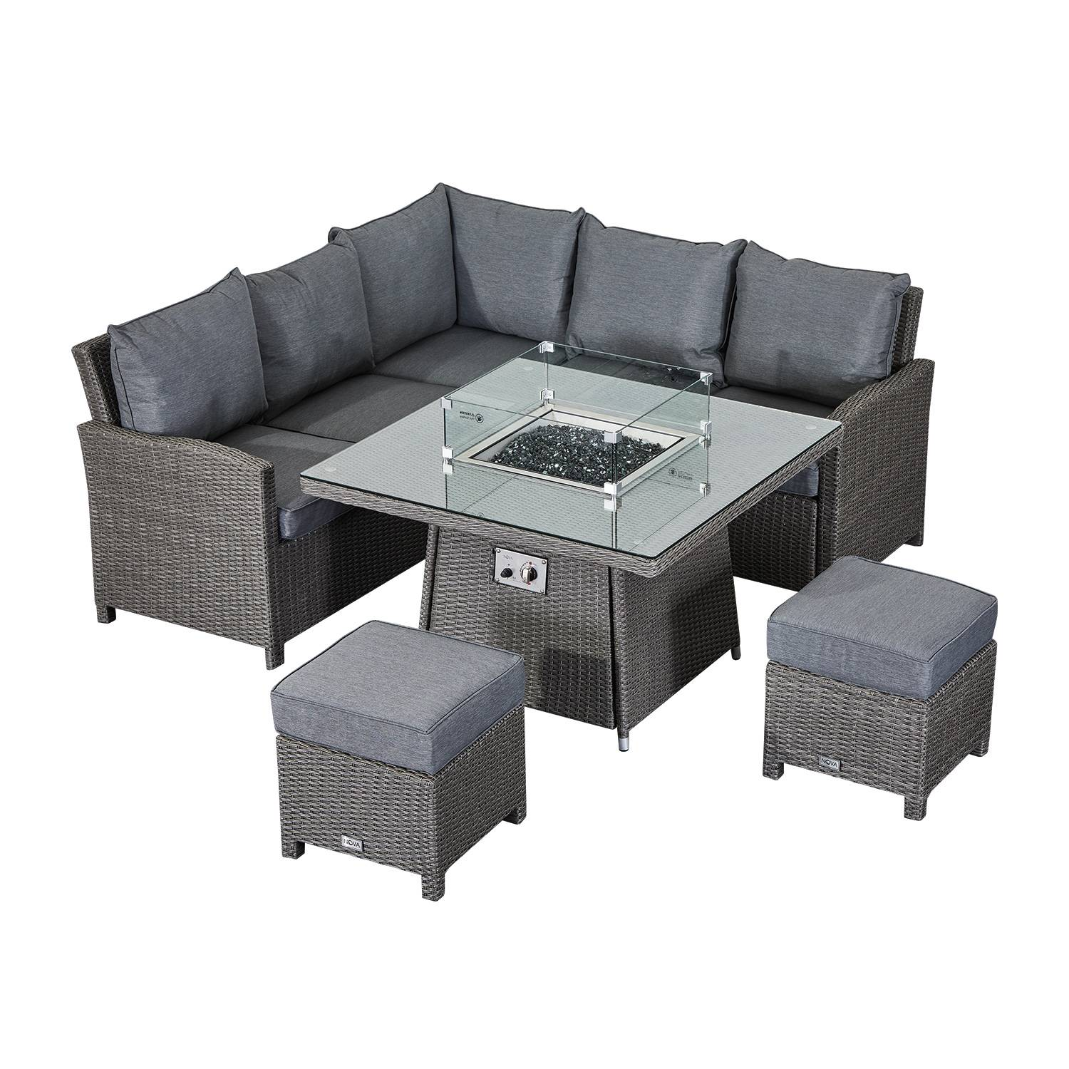 Oakworld Alfresco Heritage Ciara Compact Corner Dining Set with Fire Pit Table   Slate Grey